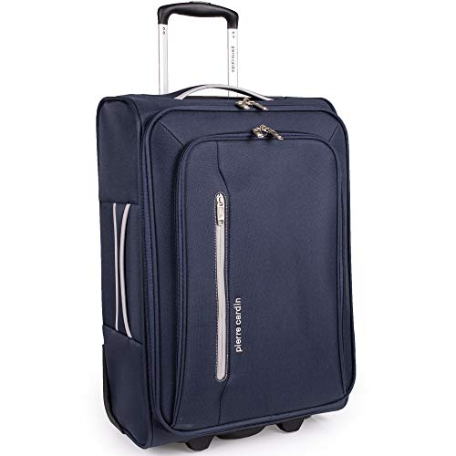 Soft Shell 21 Inch Suitcase with Wheels - Cabin Approved Jet2 EasyJet BA Luggage by Pierre Cardin | British Airways Fits 56x45x25 Hand Carry On | 22' 44 litres Light 2.3kg (Small, Navy & Grey)