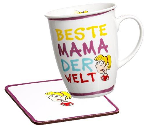 Ritzenhoff & Breker Kaffeebecher Beste Mama der Welt mit Untersetzer im Geschenkkarton, Geschenk-Set, 2-teilig