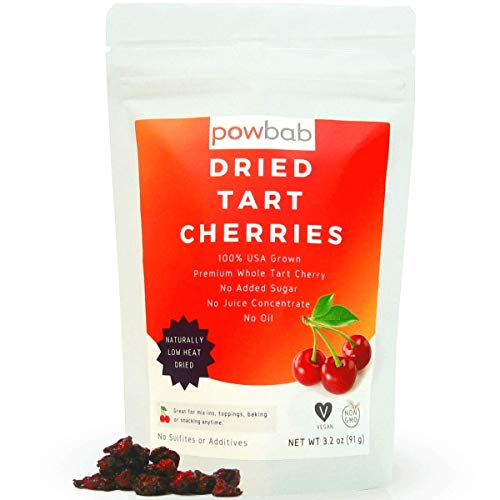 powbab Dried Tart Cherries Unsweetened  100% USA Grown Organic Montmorency Tart Cherry No Sugar Added No Oil No Juice Concentrate Unsulfured Pitted Sour Cherries No Sulfites 32 oz