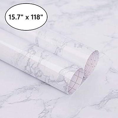 Marble Paper Granite Gray/White Waterproof Self Adhesive Removable Gloss Vinyl Film Decorative Self Adhesive Paper for Countertops Furniture Renovated Wallpaper Shelf Paper Marble Effect