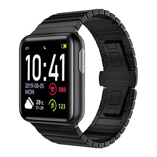 Hxl Smartwatch 1,3 Zoll Voll Touchscreen Sportuhr Armband Aktivitätstracker mit Herzfrequenz Schlaftracker Pulsoximeter Blutdruck Messgeräte Wasserdicht IP68 Schrittzähler,Schwarz