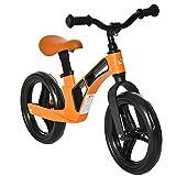 HOMCOM Bicicleta sin Pedales para Niños de 2 a 5 Años Aleación de magnesio Bicicleta de Equilibrio Infantil con Sillín y Manillar Ajustables Ruedas de Goma 86x41x49-56 cm Naranja