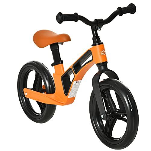 HOMCOM Bicicleta sin Pedales para Niños de 2 a 5 Años Bicicleta de Equilibrio Infantil con Sillín y Manillar Ajustables Ruedas de Goma 86x41x49-56 cm Naranja