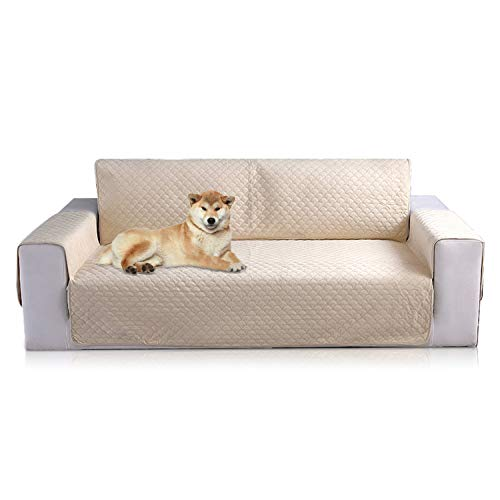PETCUTE Bankbeschermer, bankovertrek, bankovertrek, bankovertrek, sofadeken, antislip, bankhoes, sofa-overtrek, sofa-overtrek, sofa-overtrekken voor honden (beige, 2 zits)