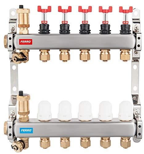 Edelstahl Heizkreisverteiler 3-12 fach Durchflussmesser Fussbodenheizung Entlüfter Durchflußanzeiger Halterung Top Qualität NEU (6 Heizkreise)