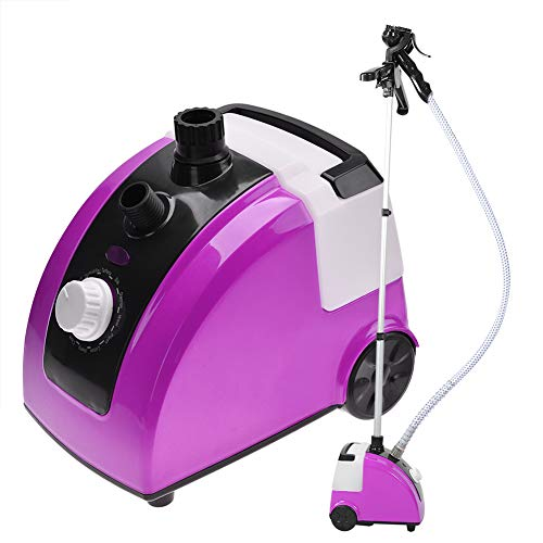 Standing Garment Steamerfor Clothes with Stand Heavy Duty Powerful 1500w Full Size Fabric Steamer with 11 Steam Levels Fabric Brush Garment Hanger Retractable Pole for Home Office Purple