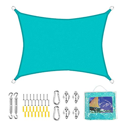 Voile d'Ombrage Rectangulaire Imperméable 3*4M Toile Ombrage en Tissu Oxford avec Revêtement PU Protection des Rayons UV Résistant et Respirant pour Jardin Terrasse Camping Fête Piscine Bleu Clair