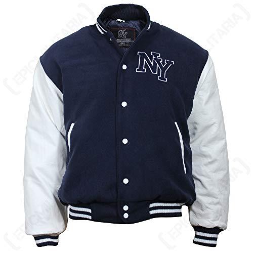 Mil-Tec NY Baseball Jacke mit Patches (Schwarz/Weiß/L)