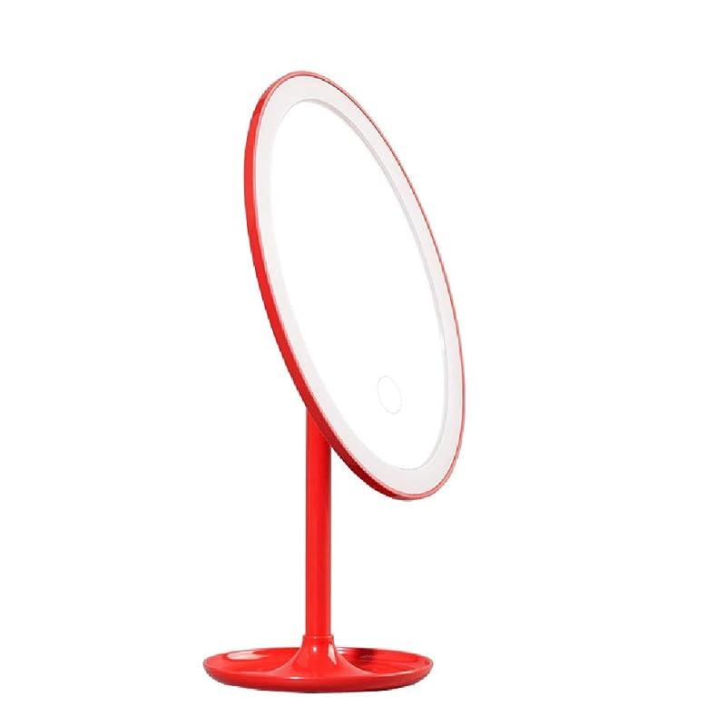 西突っ込む脅かすデスクトップ折りたたみライト化粧鏡付きライトスマート充電led化粧鏡を回すことができますミラー化粧鏡 (Color : Red)