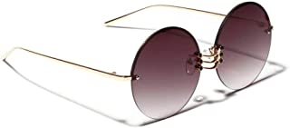 GODYS - Gafas de sol redondas de metal para mujer gafas de sol sin marco de verano retro marco grande para hombres UV400 metal dorado