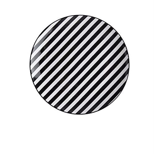 Vajilla Patten Blanco y Negro Bajo Glaseado Color Cena Plato Placa de filete Postre Plato Sopa Cuenco de arroz Cocina (Color : 8 inch D)