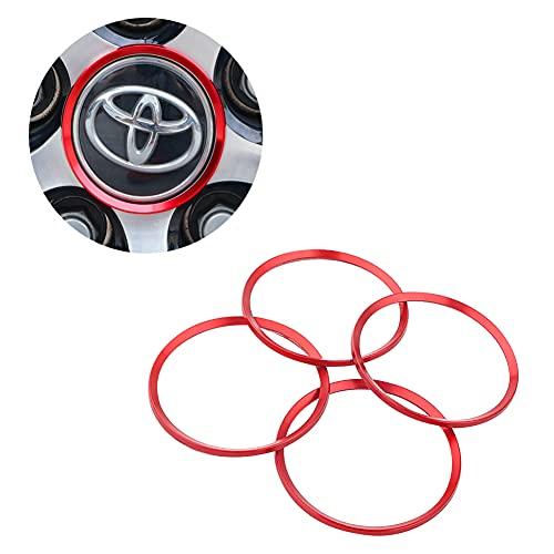 Auto Wheel Tire Trim for Toyota Camry Accessories 2016-2020, Trim Accessories for 2016-2018 Toyota Corolla Accessories, Aluminum Alloy Wheel Caps Hub Rings, Exterior Trim Accessories (Red)
