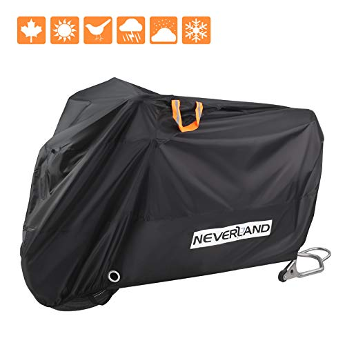 Motorcycle CoverAll Season Waterproof Outdoor Protection Premium Quality Sun Protection Durable with LockHoles Bandage Storage Bag for Kawasaki Yamaha Honda Harley Suzuki up to 104""
