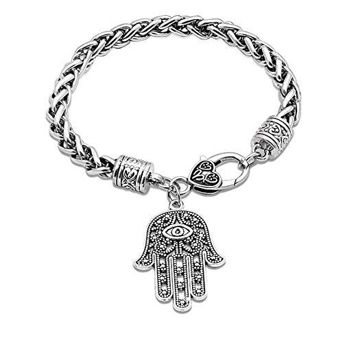 HMOOY Hamsa Mano De Fátima Pulsera De Plata Protección contra El Mal De Ojo Tono Plateado Charm Jewelry Lucky Success Colgante Amistad Pulsera Hecha A Mano para Hombres Mujeres (Silver)