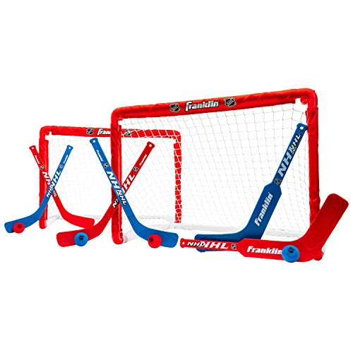 Franklin Sports Knee Hockey Goal Set of 2 – Play Mini Hockey Anytime, Anywhere – Player and Goalie Sticks Included – Fully Collapsible – Great for Kids