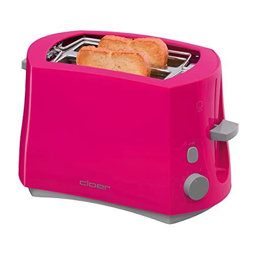 Cloer 3317-1 Cool-Wall-Toaster, 825 W, für 2 Toastscheiben, integrierter Brötchenaufsatz, Krümelschublade, Nachhebevorrichtung, Pink, Kunststoff