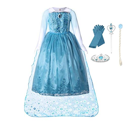 FINDPITAYA Disfraz de Manga larga para Niñas Elsa Vestido largo Cabo Princesa Reina Vestido de fiesta Guantes Varita mágica Trenza Regalo azul Costume de Halloween Navidad (110)