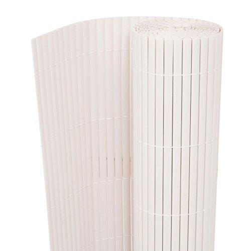 UnfadeMemory Gartenzaun Doppelseitig PVC Sichtschutzzaun, Sichtschutz Windschutz Zaun Balkon- oder Terrassen-Sichtschutz Lamellenbreite 12mm UV- und witterungsbeständig (90 x 500 cm, Weiß)