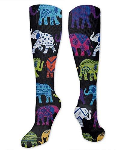 zhouyongz Calcetines de compresión para Mujeres y Hombres, Enfermeras, Corredores, el Mejor calcetín médico para Viajes, Maternidad, Correr, atlético, Venas varicosas, Elefantes Negros