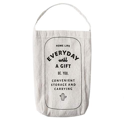 Dispensador de bolsas de plástico de algodón colgante bolsa de almacenamiento bolsa de basura organizador para cocina viajes suministros