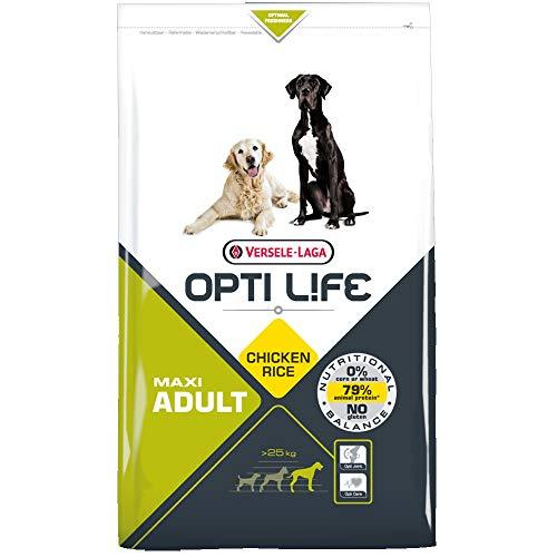 Global Pienso para Perros OPTI Life Adult Maxi con Pollo y arroz   Pienso para Perros de Raza Grande Versele Laga   Comida para Perros 12,5 kgs