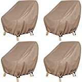 ULTCOVER Waterproof Patio Chair Cover – Outdoor Lounge Deep Seat Single Lawn Chair Cover 4 Pack Fits Up to 28L x 30W x 32H inches