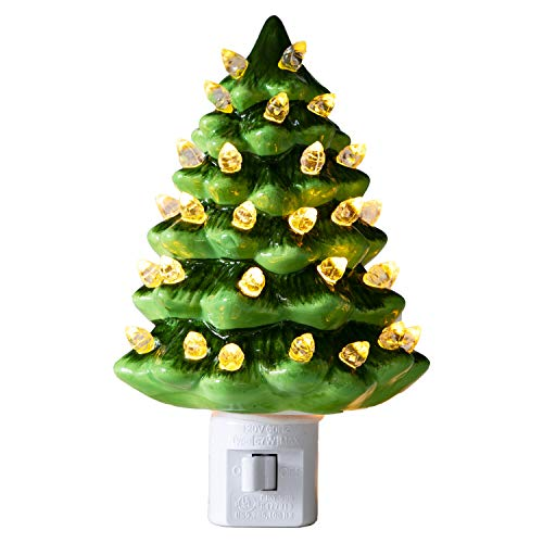 Green 3D Ceramic Christmas Tree Nightlight with Glass Lights UL Listed Holiday Decor (White)