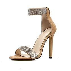 Beige Stiletto High Heel Sandal With Rhinestone & Open Toe