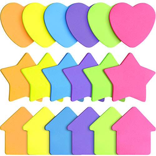 540 Pieces Heart Arrow Star Shape Sticky Notes Bright Colorful Sticky Pad Self Sticky Note Pads for Reminders, Studying, Office, School and Home, 3 Styles, 30 Sheets Per Pad