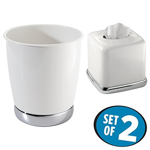 mDesign Wastebasket Trash Can with Facial Tissue Box Cover/Holder, 2 pc Bathroom Accessory Set - White/Chrome