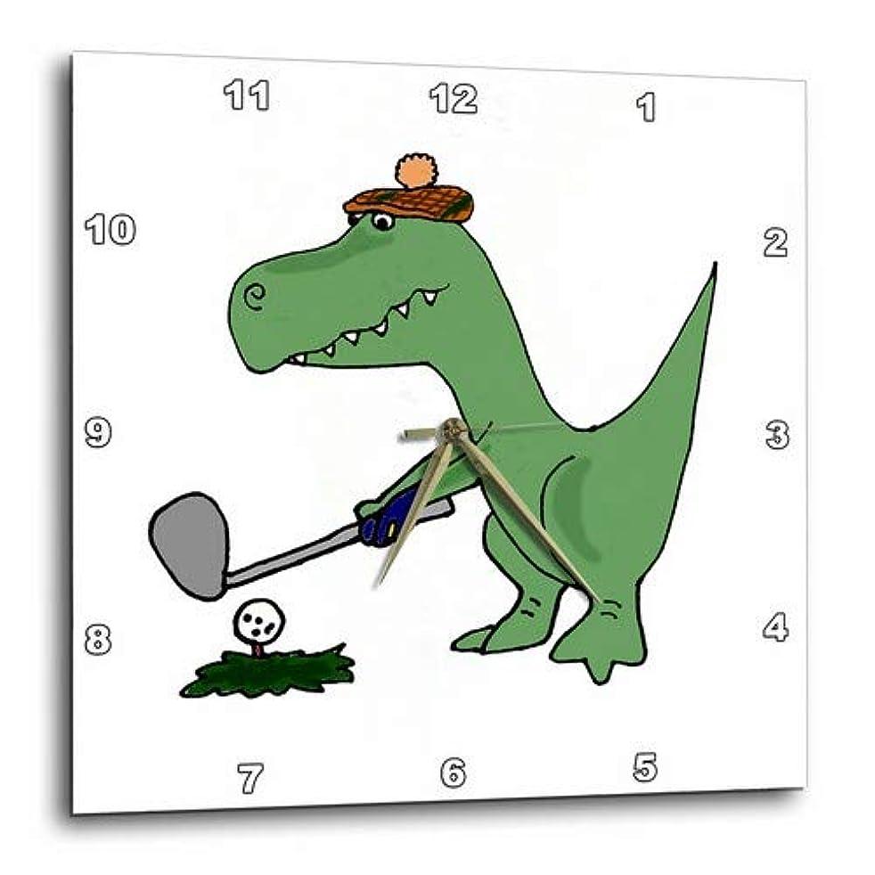拮抗するカウンタ下る3dRose dpp_203784_1 楽しいグリーンのトレックス恐竜 ゴルフ壁時計、10 x 10インチ