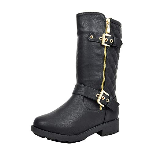 DREAM PAIRS Girls Little Kid Knice Black Knee High Winter Motorcycle Riding Boots Size 2 M US Little Kid