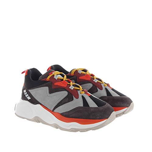 MSGM Chunky Sneaker IN CAMOSCIO E Tessuto Tecnico Grigio,Nero 41