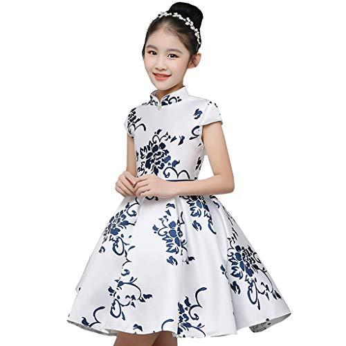 YONGMEI Tanzkleidung Kinder- Tanz-Kostüm Laufsteg zeigt Chorus Gastgeber China-Art-Blau und weißes Porzellan Puff Prinzessin Kleid (Farbe : Weiß, Größe : 150cm)