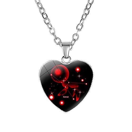 YUANMAO 12 Constelaciones del zodiaco signo amor corazón cristal colgante colgante collar joyería regalo cáncer