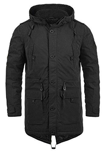 !Solid Davido Herren Winter Jacke Parka Mantel Lange Winterjacke gefüttert mit Kapuze, Größe:XXL, Farbe:Black (9000)