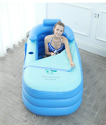 Inflatable Adult Bath Tub, Foldable Portable Environmental High-Density PVC Free-Standing Blow Up Bathtub for Adult Spa with Electric Air Pump Light Blue