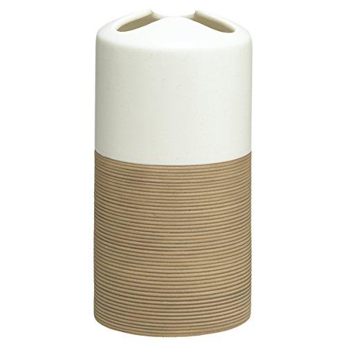 Sealskin Zahnbürstenhalter Doppio, Zahnputzbecher aus natürlichem Porzellan, Farbe: Sand, handbemalt