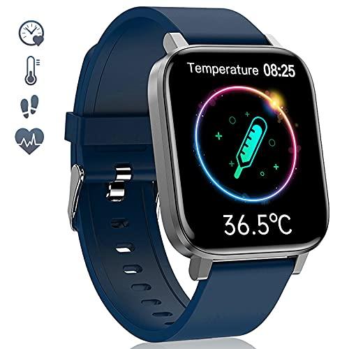 LIYIFANKJ Reloj Inteligente 1.7 Pulgadas para Hombres Mujeres Smartwatch IP68 Impermeable24 Modos DeportivosNadarPulsómetrosReloj Deportivo Compatible con Android iOS (Azul)