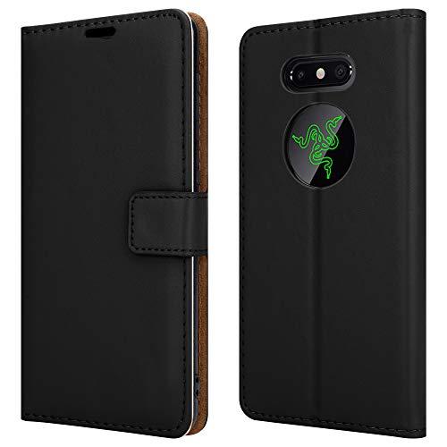 Für Razer Phone 2 (5,7 Zoll) Lederhülle, Magnetverschluss, voller Schutz, Buch-Design, Brieftaschen-Hülle mit [Kartenfächern] & [Standfunktion] für Razer Phone 2 Handyhülle – Schwarz