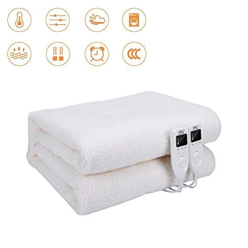 Elektrische warmtestraler met 5 temperatuurniveaus – dubbele temperatuur en dubbele controle – handwas, warmteonderbed voor bed met eenvoudige bevestiging, wit, 1,8 m x 1,6 m