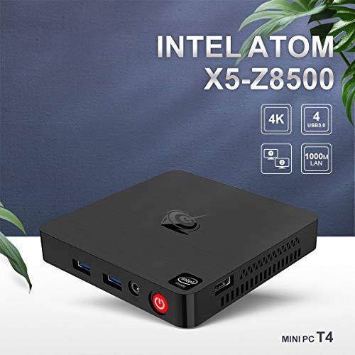 Beelink T4 Mini PC Windows 10 4GB RAM, 64GB SSD mit 128GB Erweiterung, Intel Atom x5-Z8500 Quadcore, 2.4/5.8G WiFi, 1000Mbps Gigabit-LAN, DP/USB3.0/HDMI/Audio Jack (HP&MIC) Ausgabe