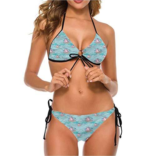 shirlyhome Bikini Swimsuits Brazilian Bikini Bottom Hipster Colorful Boat Paint Splashes