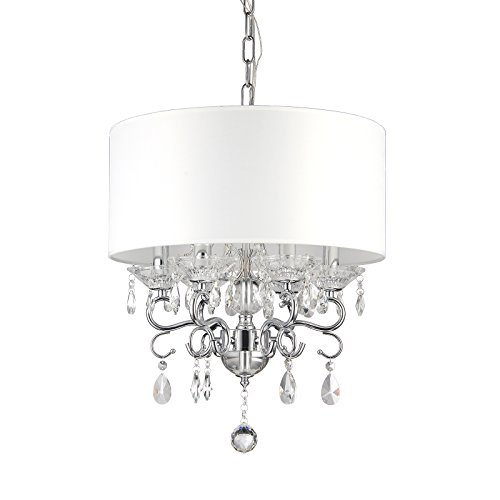 Edvivi 6-Light White Fabric Round Drum Shade Chrome Finish Crystal Chandelier Ceiling Fixture | Glam Lighting