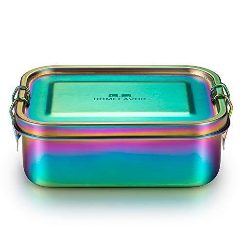G.a HOMEFAVOR Edelstahl Brotdose Bento Box Auslaufsichere Metall Lunchbox 800ml Vesperdose Sandwichbox Schule für Kinder und Erwachsene, Galvanisierung Regenbogenfarbe, Brotzeitdose