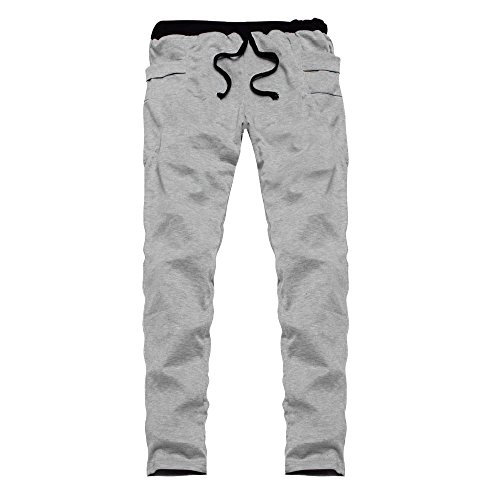 Mens Jogger Trainingsanzug Running Sport Hosen Jogginghose Plus GrößE Fashion Herbst Patchwork Kordelzug Arbeitshose Trainings Gamaschen Eignungs Gymnastik Laufende Athletische(Grau,L)