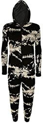 Women's Print Onesie LAdies Playsuit Long Hooded Jumpsuit