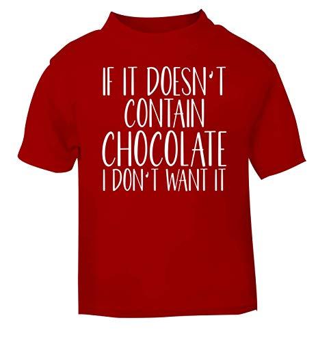 Flox T-Shirt créatif pour bébé Ne Contient Pas de Chocolat - Rouge - 2 Ans