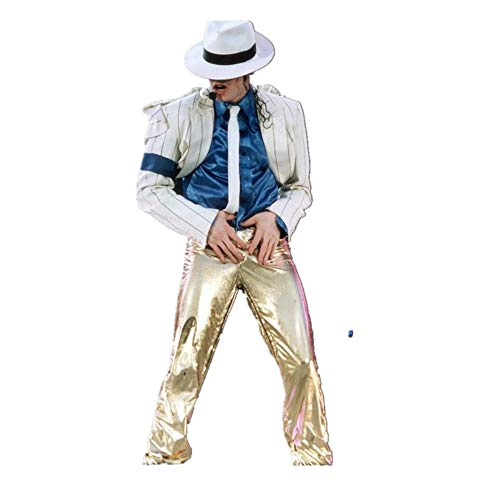 Halloween Cosplay Kostüm Suitable for Fans of Michael Jackson Kind Erwachsene Michael Jackson Cosplay Streifen Glatte Verbrecher Anzug Jacke + Pants + Shirt + Hut + Tie (Weißes Gold, 140-150)