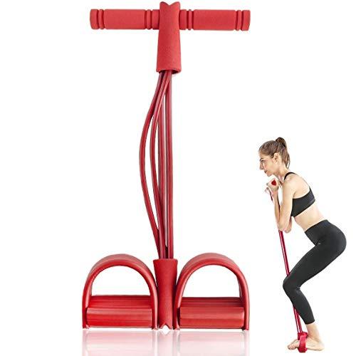 JIALD Cuerda de tensión multifunción, Cuerda elástica de Pedal de Cuatro Tubos multifunción, Banda de Resistencia de Yoga para Mujeres y Hombres (Rally)